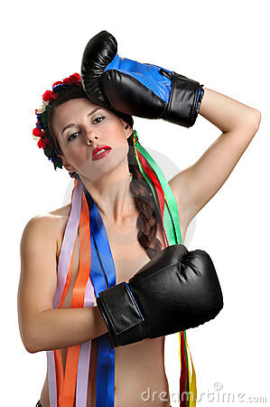 Topless girl with boxing gloves