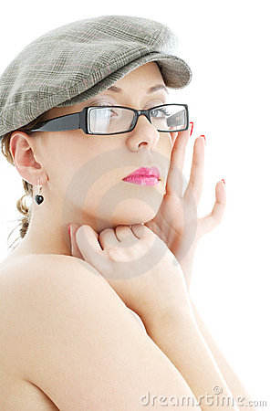 Topless lady in black plastic eyeglasses and cap