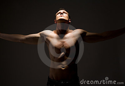 topless man arms wide open