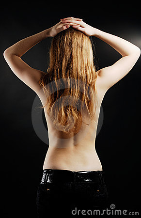 Free Topless Woman From Back In Black Background Royalty Free Stock Photo - 17888755