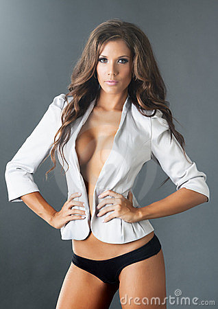 Topless woman in white jacket with cleavage
