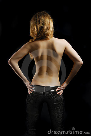 Free Topless Young Woman From Back In Black Background Royalty Free Stock Image - 17520456