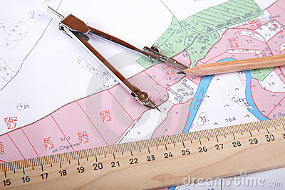 Topographic map of district   measuring instrument