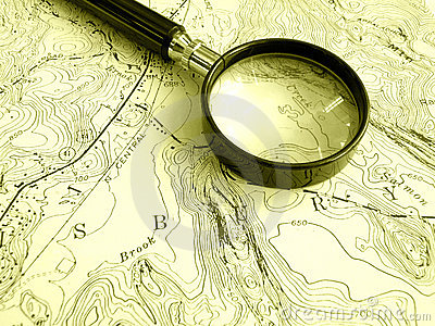 Topographic map with magnifier