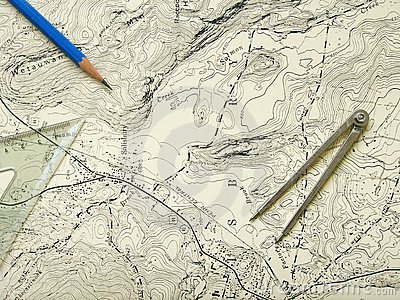 Topography map with pencil