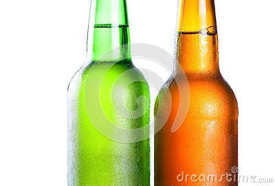 Topping of green and brown bottle
