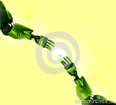 Toque dos dedos dos robôs