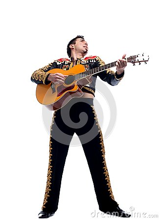 Toreador in black costume  playing guitar