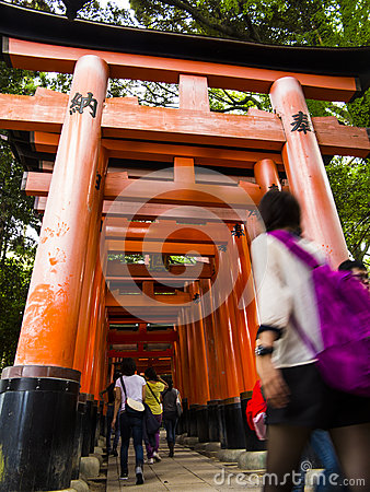 Tori gates at Fushimi Inari shrine Editorial Photography