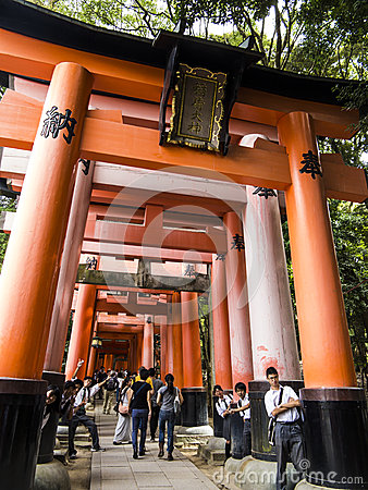 Tori gates at Fushimi Inari shrine Editorial Stock Photo