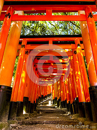 Tori gates at Fushimi Inari shrine Editorial Photo