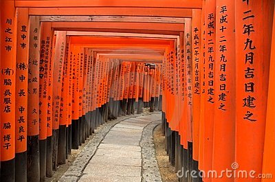 Torii gates of Fushimi Inari Shrine in Kyoto, Japan
