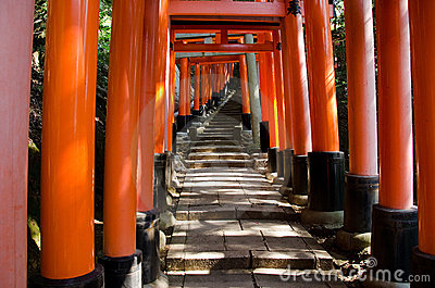 Torii gates at Inari shrine in Kyoto