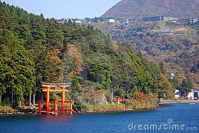 Torii on Lake Ashi, Hakone National Park, Japan