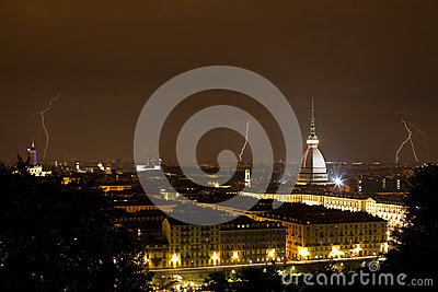 Torino, Mole Antonelliana and Lightning - Turin