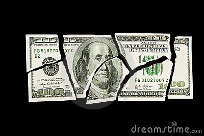 Torn 100 dollar bill