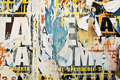 Torn advertisement posters