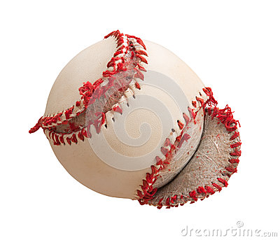 Torn Baseball Cover Isolated on white