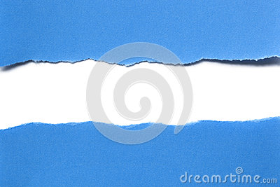 Torn Blue Paper with White Strip