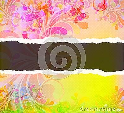 Torn cardboard with colorful swirls
