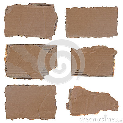 Torn cardboard pieces set
