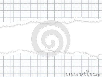Torn grid paper. Design background.