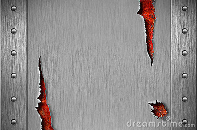 Torn metal armor over rusty grunge background