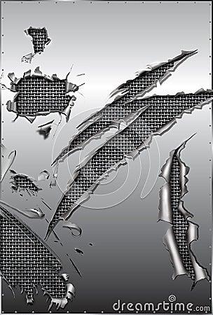 Torn metal and steel mesh