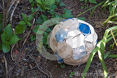 Torn Old Soccer Ball
