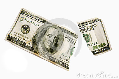 Torn One Hundred Dollar Bill Isolated XXXL