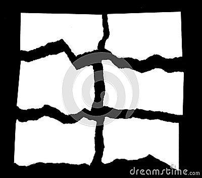 Torn Paper Scraps On Black Background