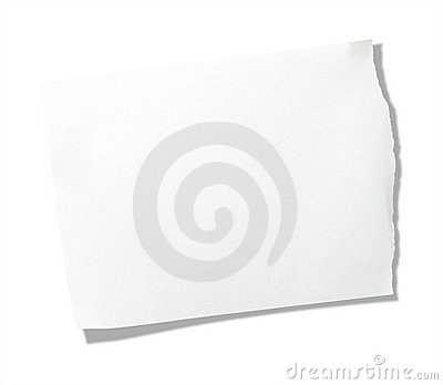 Torn piece of memo pad paper