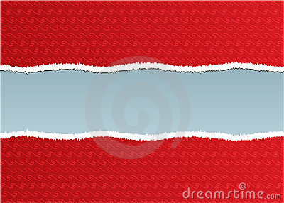 A torn ripped red wall paper