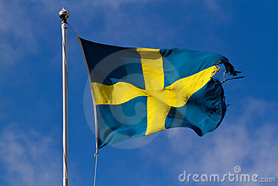 Torn Swedish Flag Royalty Free Stock Images - Image: 23285129