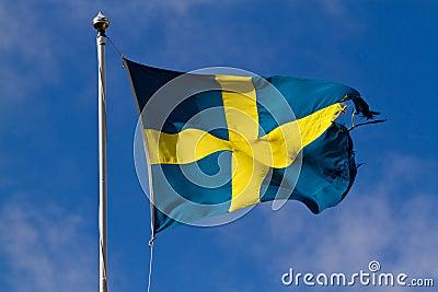 Torn swedish flag