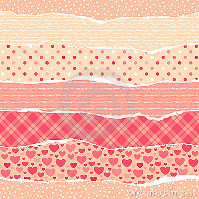 Torn wrapping paper with hearts.