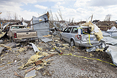 Tornado aftermath in Henryville, Indiana Editorial Photography