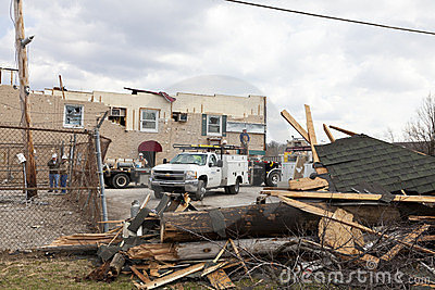 Tornado aftermath in Henryville, Indiana Editorial Photo