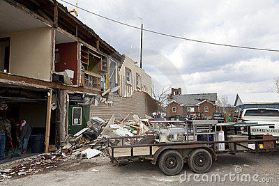 Tornado aftermath in Henryville, Indiana Editorial Image