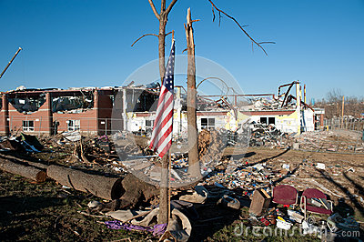 Tornado damage in Henryville, Indiana Editorial Stock Photo