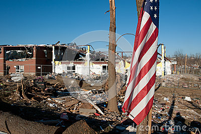 Tornado damage in Henryville, Indiana Editorial Stock Image