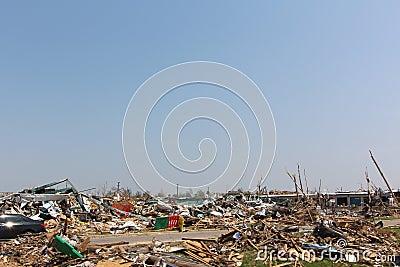 Tornado damaged landscape, nothing but rubble.