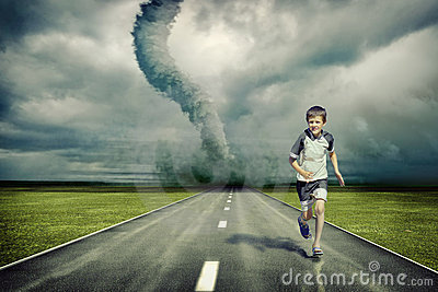 Tornado and running boy