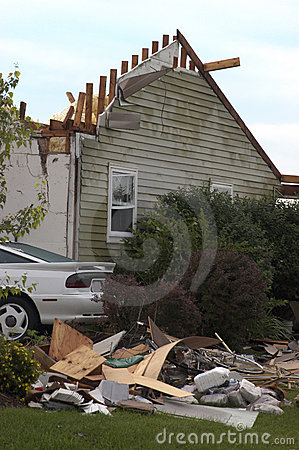 Tornado Storm Damage House Home Destroyed by Wind