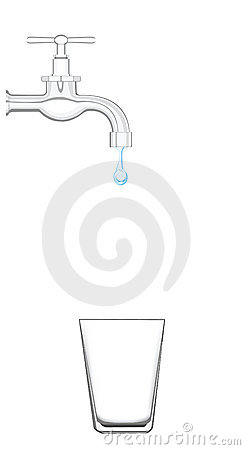 Torneira de água com água do gotejamento