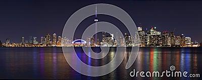 Toronto beautiful night cityscape panorama