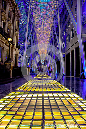Toronto Brookfield Place Christmas Lights Editorial Stock Image