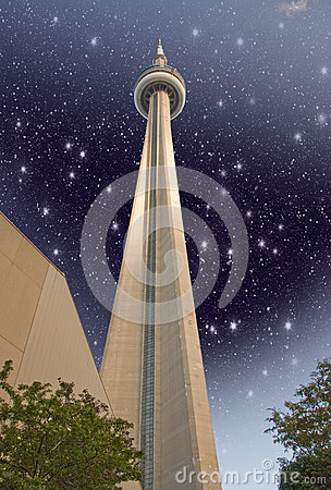 TORONTO - JUN 29: Sky colors over CN Tower on a summer day, June Editorial Photo