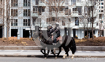 Toronto Mounted Police on horses in Toronto, Canada. Editorial Image