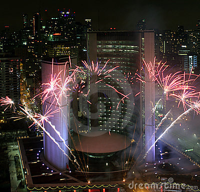 Toronto New Years Eve Fireworks 2012 Editorial Photography